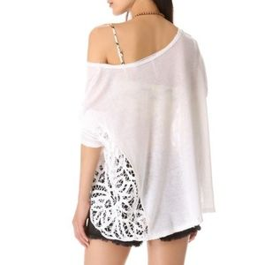 Free People White Love Me Do Linen Blend Knit Top